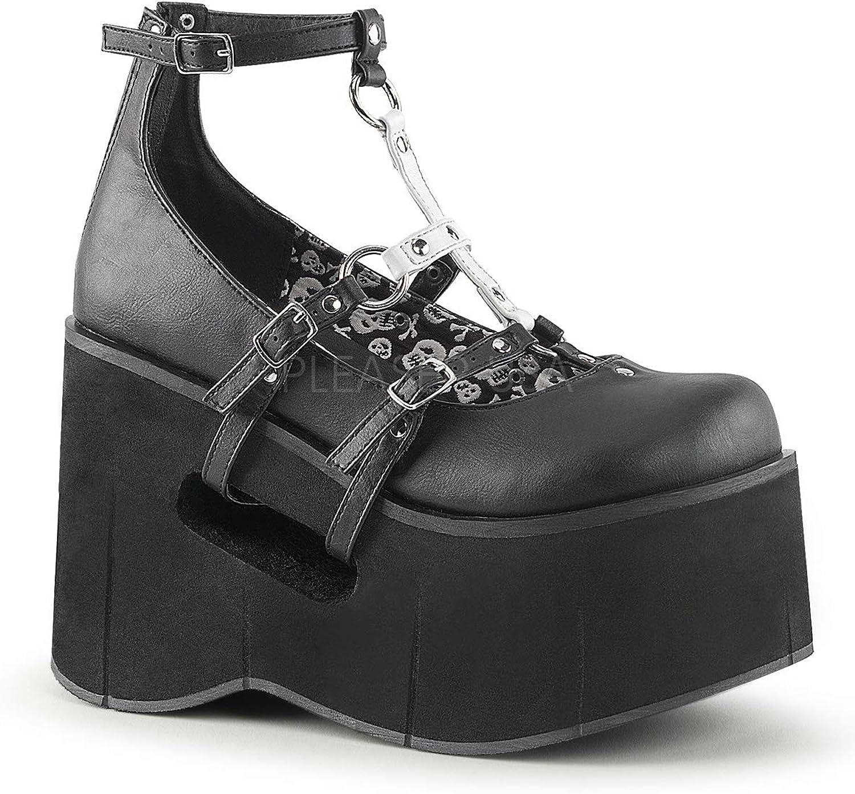 Demonia Women's KERA-09 Platform T-Strap Mary Jane shoes Black