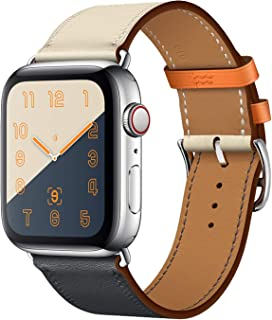 CRLIN Compatible with/Replacement for Apple Watch Band 44mm 40mm 42mm 38mm Series 4/3 /2/1 Single Tour Replace for iWatch Strap Leather Bands (Indigo/Craie/Orange, 42/44)
