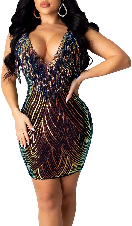 JURIS Women Sexy Spaghetti Strap Backless Deep V Neck Sequin Bodycon Party Mini Dress Clubwear