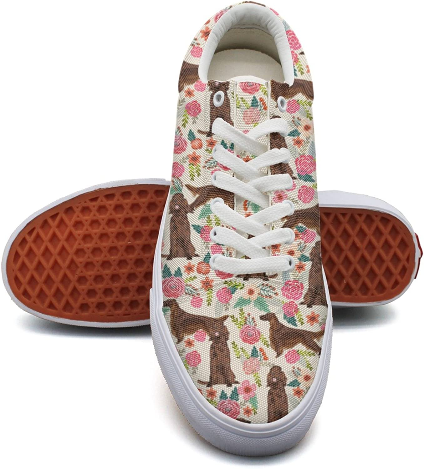 Feenfling Irish Setter Dog Floral Flowers Womens Light Canvas Boat shoes Low Top Best Volleyball Sneakers for Women Girls