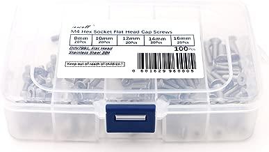 iExcell 100 Pcs M4 x 8mm/10mm/12mm/14mm/16 mm Stainless Steel 304 Hex Socket Flat Head Cap Screws Bolts Kit