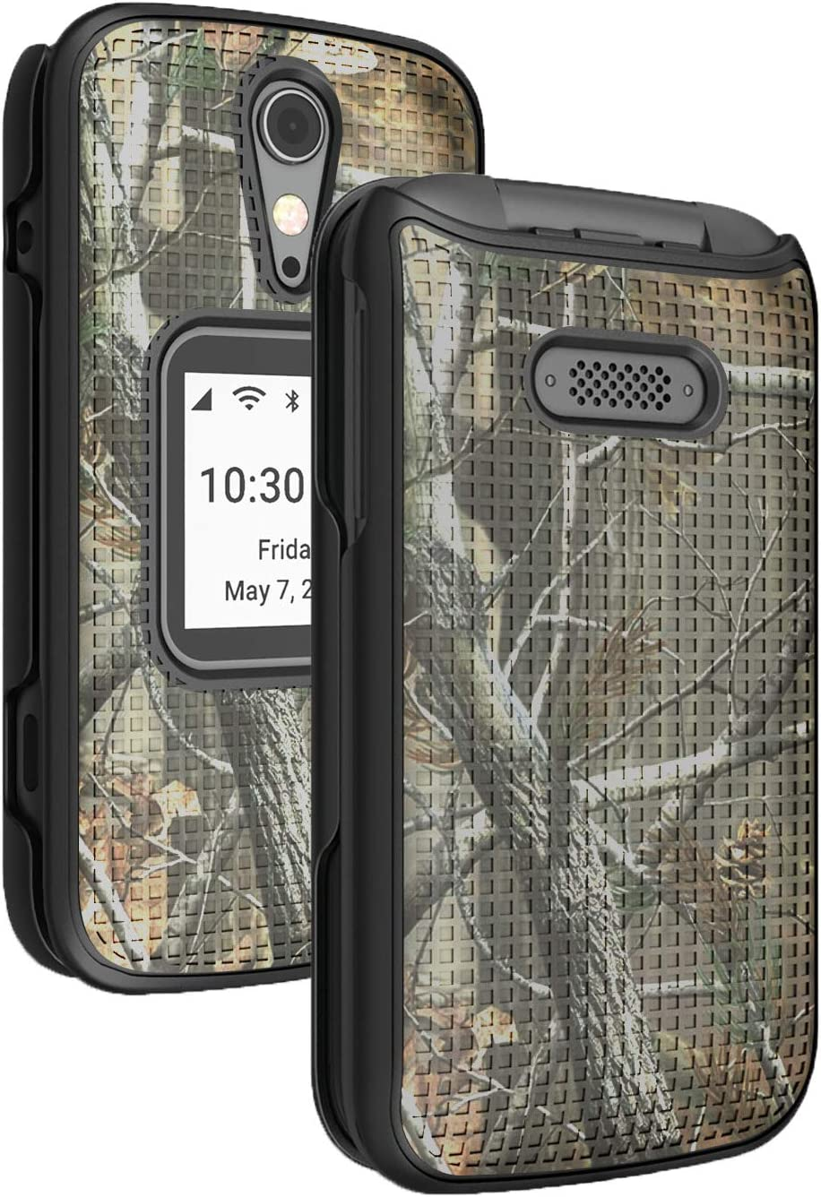 Case for Jitterbug Flip2, Nakedcellphone [Outdoor Camouflage] Tree Leaf Real Woods Camo Protective Hard Shell Cover for Jitterbug Flip 2 Phone (aka Lively Flip) (4053SJ7)