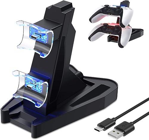 FYOUNG Chargeur Manettes pour PS5 avec Cable Type C, Recharge Support Station pour Sony Playstation 5 DualSense avec ...
