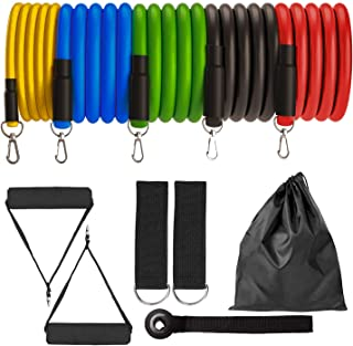 OXYVAN Exercise Resistance Bands Set with Door Anchor, Handles, Waterproof Carry Bag, Legs Ankle Straps for Resistance Training, Physical Therapy, Home Workout, Yoga