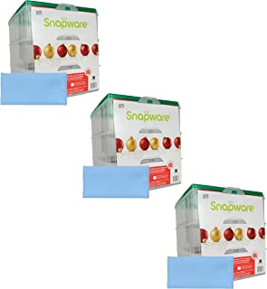 Snapware (3) Snap 'N Stack 3-Layer Ornament Keepers w/ (3) Blue Microfiber Low-lint Polishing Cloth