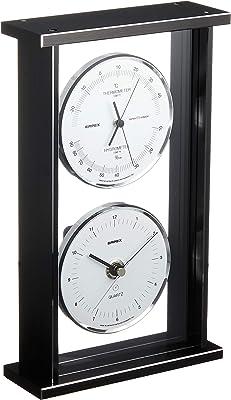 エンペックス気象計 温度湿度計 スーパーEXギャラリー 温度 湿度 時計表示 置き用 日本製 ブラック EX-792
