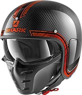 Shark Motorradhelm S DRAK CARBON VINTA DUO, Schwarz/Orange, XL