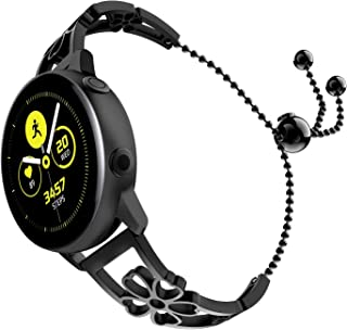 TiMOVO Band Compatible for Galaxy Watch Active/Active 2/Galaxy Watch 42/Gear S2 Classic, Premium Stainless Steel Replacement Strap Metal Wristband with Unique Plum Pattern - Black