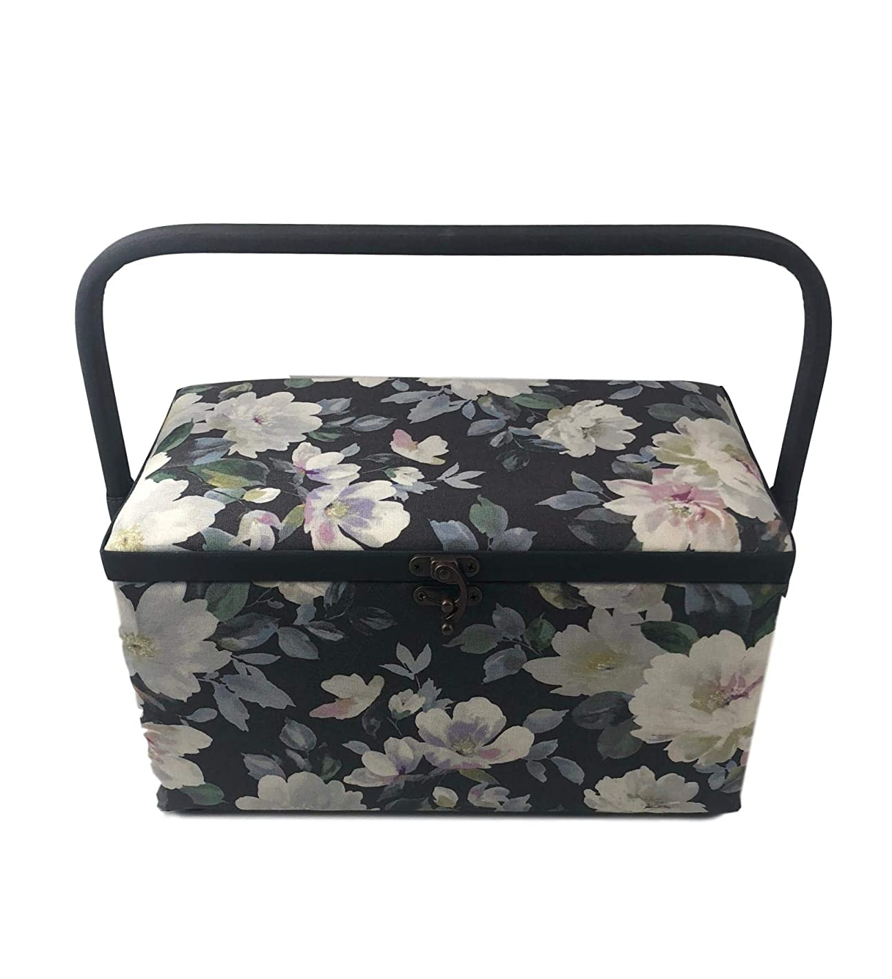 Dritz St Jane Sewing Basket Medium Rectangle Sewing Box 11x6x6 Inches (Gray Floral)