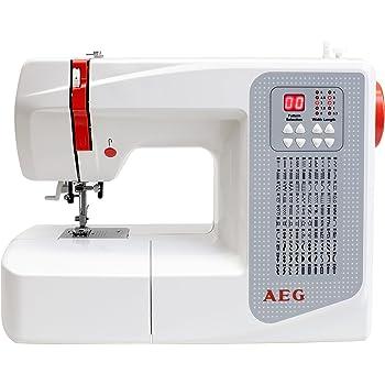 AEG - Máquina de Coser, plástico/Metal, plástico/Metal, weiß/Rot ...