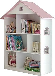 Liberty House Toys - Estantería de Madera para Casas de muñecas, Color Blanco y Rosa, 106,5 cm de Alto x 83 cm de Ancho x 30 cm de Profundidad