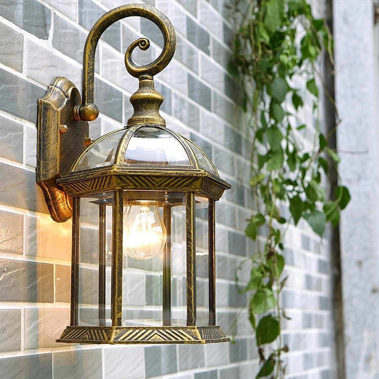Wand-Lampen Im Freien Wand-Lichter Des Europischen Garten-LED Im Freien Wand-hngende Lichter Im Freien Wasserdichte Wandleuchten (Farbe   Brass)
