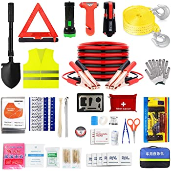 SUPAREE Roadside Assistance Emergency Kit Automotive Roadside Assistance Winter Car Kit 6 Ft Multipurpose Emergency Pack Car Premium Road Kit Essentials Jumper Cables Set