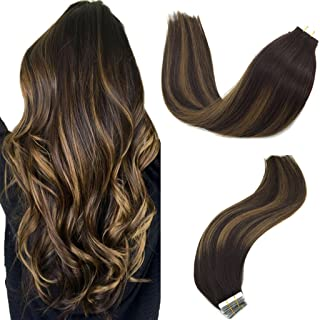 Googoo Hair Extensions Tape in Ombre Dark Brown to Light Brown 50g 20pcs Real Remy Human Hair Extensions Tape in Straight 18 inch