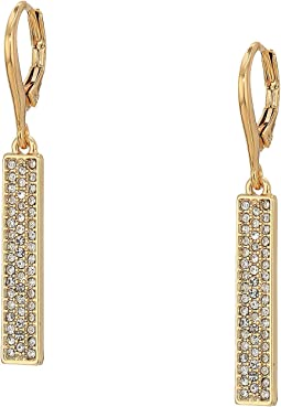 Micropave Linear Bar Earrings