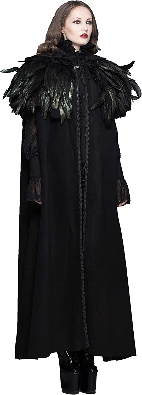 Devil Fashion Women Black Gothic Dark Green Feather Long Coat Party Cape Hooded Cloak