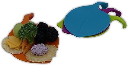 أطباق حفلات Kucina LEAF-IT Appetizer مجموعة من 4 قطع، تصميم فريد لأطباق حفلات الكوكتيل، علامات مشروبات ملونة، تستخدم كأطبا...