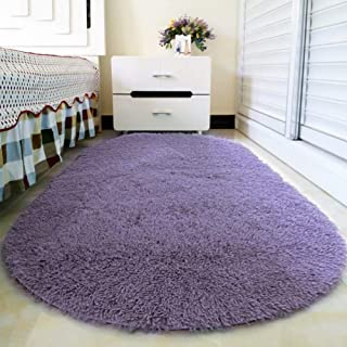 Junovo Oval Fluffy Ultra Soft Area Rugs for Bedroom Plush Shaggy Carpet for Kids Room Bedside Nursery Mats, 2.6 x 5.3ft, Gray-Purple