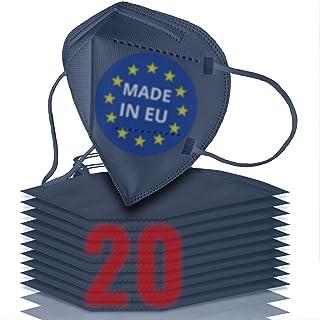 20x FFP2 blau [MADE IN EU] - FFP2 Maske blau CE zertifiziert nach EN 149:2001 + A:2009 - Blau-farbige FFP2 Maske CE zertif...