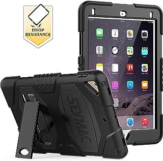 SEYMAC iPad 5th/6th Generation Case,iPad 9.7 Case Three Layer Heavy Duty Soft Silicone Hard Bumper Case with Kickstand for iPad Air 2/ iPad Pro 9.7 (Black)