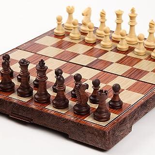 チェス マグネット 木製風 アンティーク ボードを折りたたむと収納可能 【日本語説明書付き】 Mサイズ (24×28センチ)