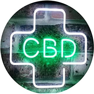 ADVPRO CBD Sold Here Medical Cross Indoor Dual Color LED Neon Sign White & Green 16 x 12 Inches st6s43-i3083-wg