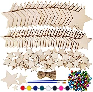 100 Pcs Wooden Star Cutouts Ornaments Wood Stars Cutouts Christmas Craft Star Wooden Tags Unfinished Wooden Star Cutouts Small Natural Plain Star Embellishments for Rustic Farmhouse Decoration