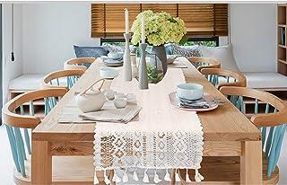 JAWSEU Beige Boho makraé bordslöpare, handgjord virkning spets bordslöpare rektangulär ihålig mesh bordsduk för bröllop bo...