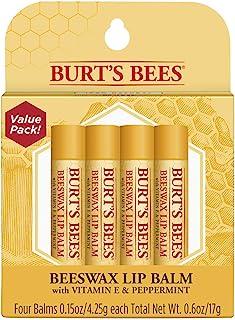 Burt's Bees 100% Natural Moisturizing Lip Balm, Original Beeswax with Vitamin E & Peppermint Oil –  4 Tubes