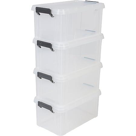 Iris Ohyama 135631 Set de 4 boîtes de Rangement Multi Box 6 L, Plastique, Transparent, 6 Litres