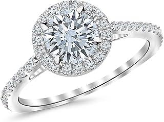 1.9 Carat Classic Halo Diamond Engagement Ring with a 1.5 Carat I-J I1 Center