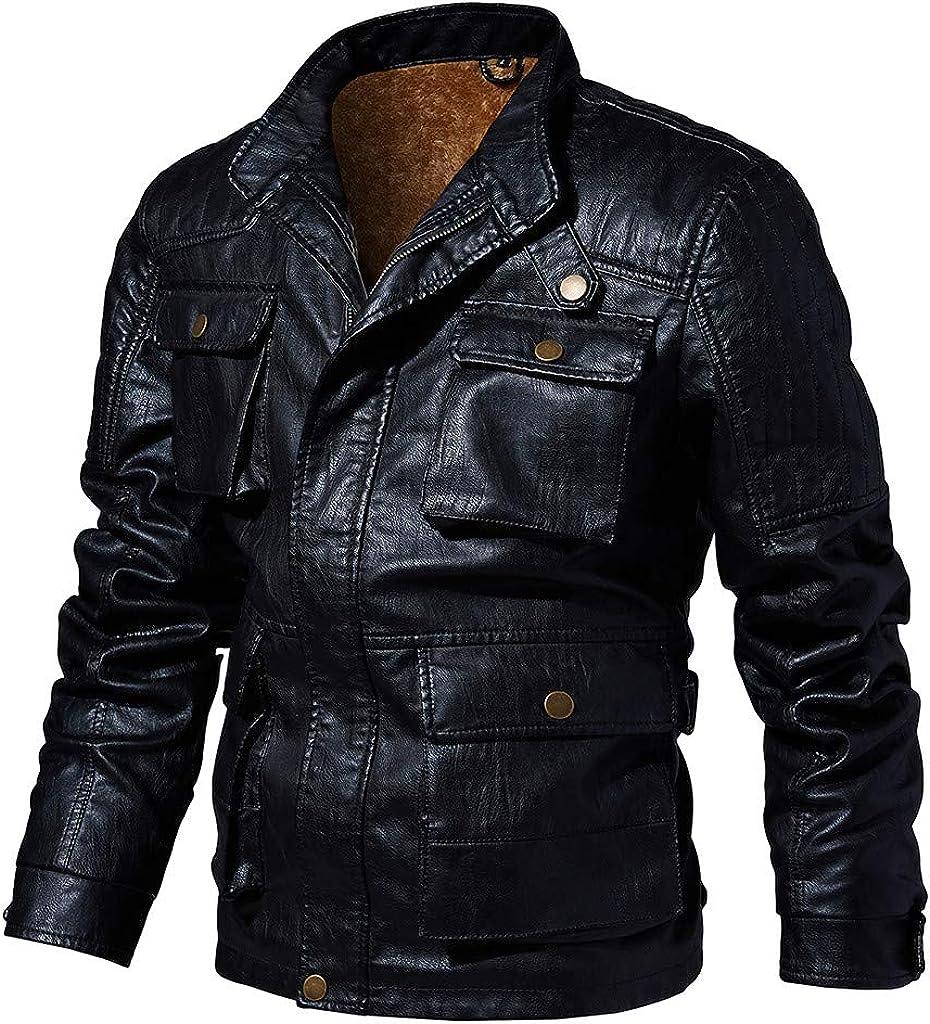 Biker Leather Jacket Bomber Men, NRUTUP Faux Fur Liner Vintage Shearling Vinyl Lambskin Jacket Winter Casual Outwear