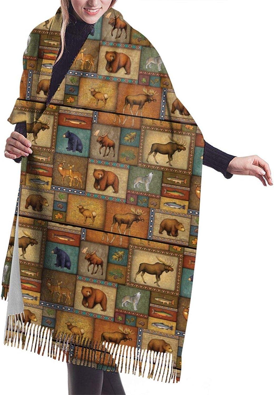 Bear Deer Fish Cashmere Feel Scarf Lightweight Soft Scarfs For Boys Girls Creative Warm Cold Weather Blanket Scarf