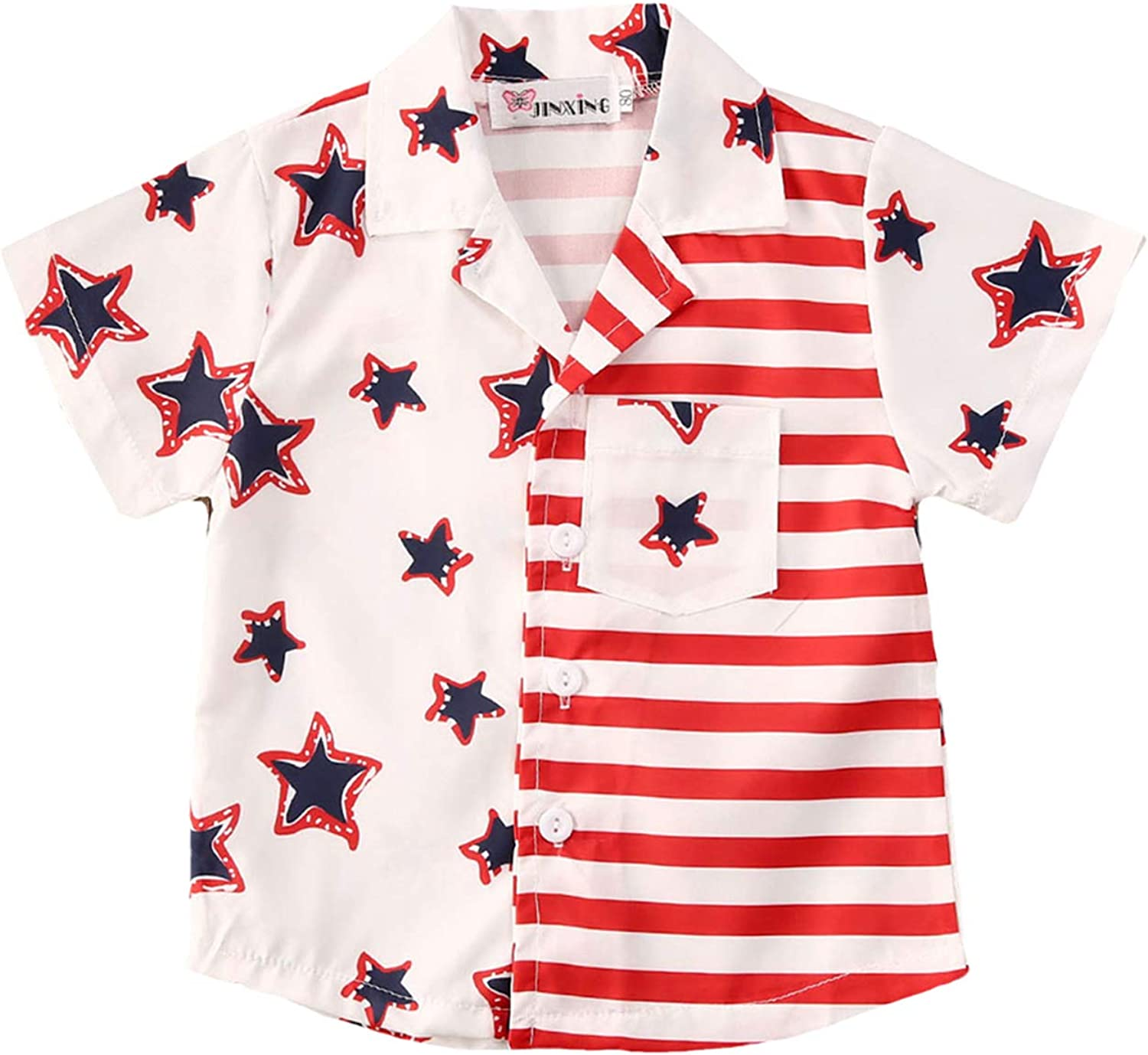 4th of July Toddler Boy Outfit Pentagonal Star Red Stripe Short Sleeve Toddler Boy Fourth of July Shirt Clothes