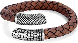NanoStyle Men's Genuine Leather Bangle Stainless Steel Bracelet Woven Reptile Design, Adjustable, 8.3