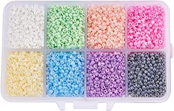 Pandahall 1 Box (About 8000pcs) 12/0 Mixed Color Glass Seed Beads Ceylon Round Loose Spacer Beads, 2mm