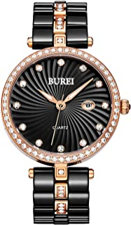 BUREI Women's Elegant Analog Quartz Wrist Watches Diamond Bezel with Ceramic Bracelet