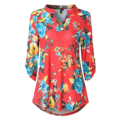 61fc7bab11abd Zattcas Womens Floral Printed Tunic Shirts 3 4 Roll Sleeve Notch Neck Tunic  Top
