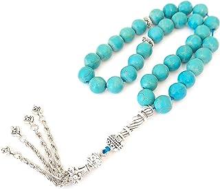 Artificial fayroz misbaha silver plated accessories prayer beads for men fashion gift مسبحة عقيق فيروز صناعي درجة أولى هدية للتسبيح سبحة عقيق للرجال