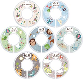 Baby Closet Dividers for Baby Clothes, Set of 7 Baby Clothing Size Age dividers from New Born Infant to 24 Months, Nursery Decor Closet Organizers for boy or Girl, Cute Cartoon Design