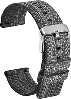 Ullchro Nylon Watch Strap Replacement Watch Band Military Army Men Women - 16mm, 18mm, 20mm, 22mm, 24mm Watch Bracelet with Stainless Steel Silver Buckle