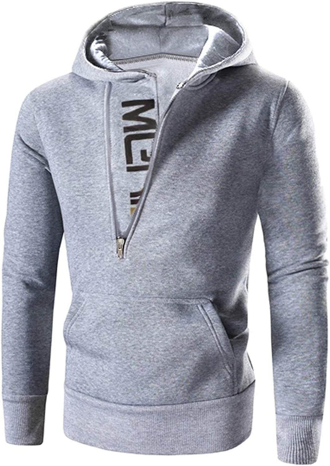 HONGJ Hoodies for Mens, Diagonal Zipper Collar Letter Print Hooded Sweatshirts Patchwork Workout Slim Fit Pullover