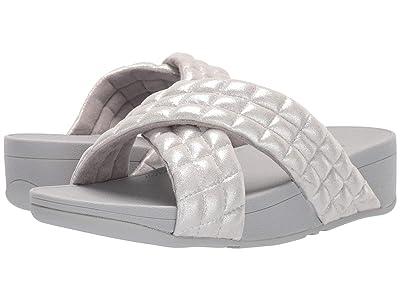 FitFlop Lulu Padded Shimmy Suede Slides (Silver) Women