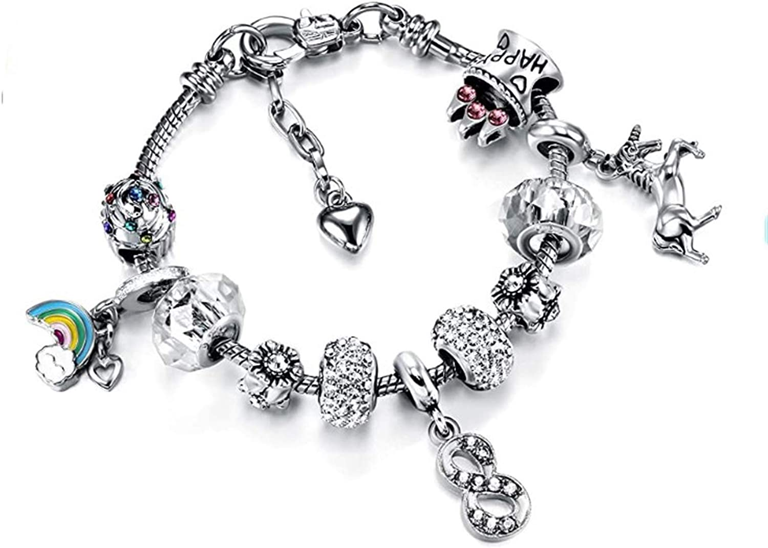 JIAJBG Max 86% OFF Charms Bracelet 16Cm Max 55% OFF Ajustable Flower Beads for Bangle Wo
