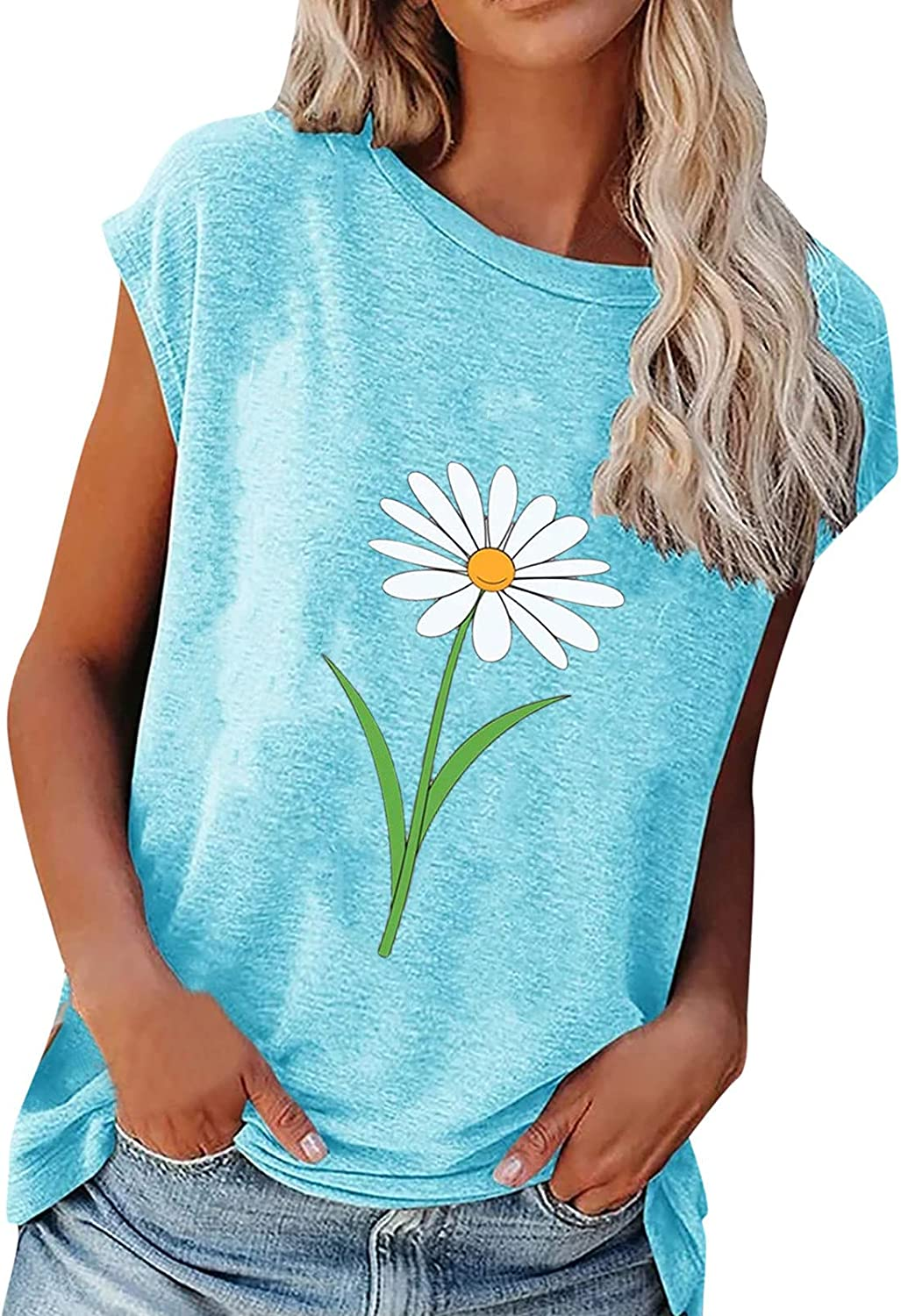Direct store Women's Summer Loose Single Flower Print T-S O-Neck Max 79% OFF Short Sleeve