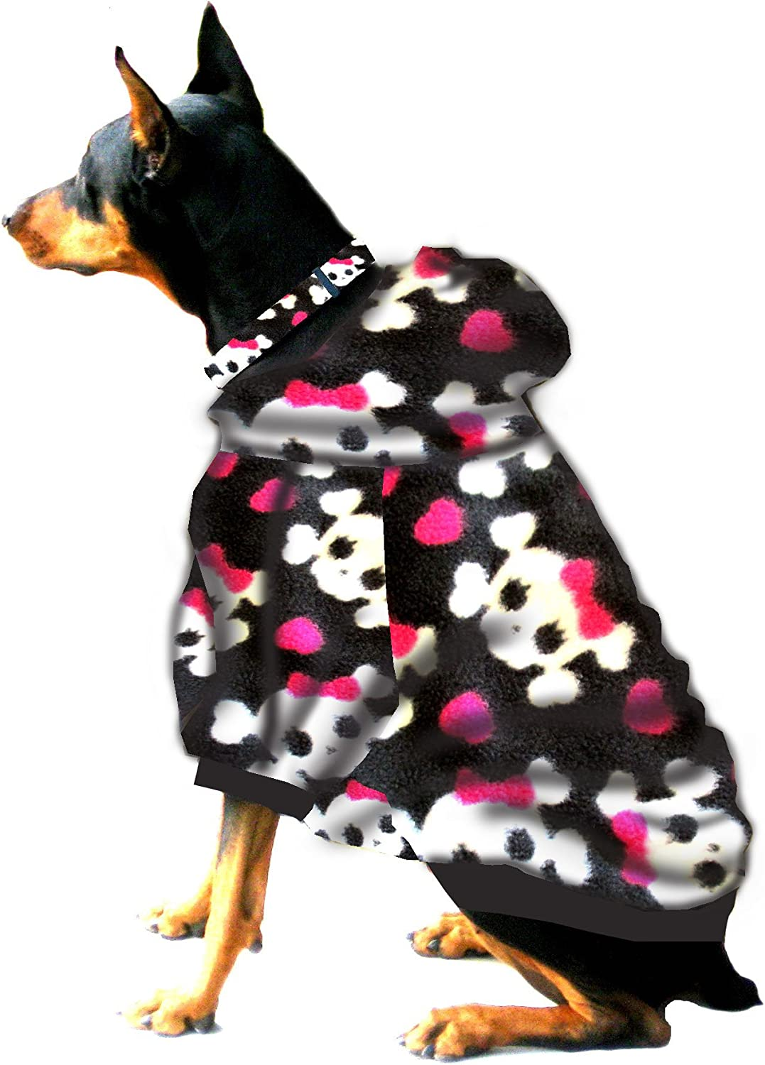 Boxer  Doberman Dog Sweatshirt for Large Dog (60 to 90 Pounds) Skulls with Pink Bow