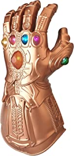 ZealBoom Infinity War Thanos Gauntlet for Adult, LED Light Up Glove Cosplay Costume Props Accessories Gold