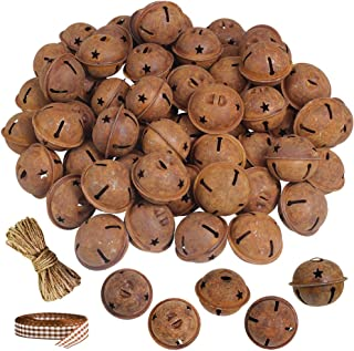 Winlyn 60 Pcs Rusty Jingle Bells with Star Cutouts Bulk Christmas Sleigh Bells Rustic Metal Craft Bells Star Bells 1.6