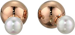 8mm Round Pearl and 12mm Double Stud Rose Plated Ball Earrings
