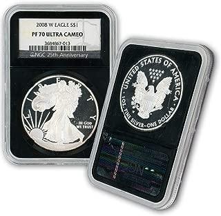 2008 W American Silver Eagle $1 PF70UCAM NGC Black Core